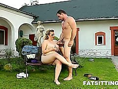 Big-titted BBW Kristy facesits a guy outdoors