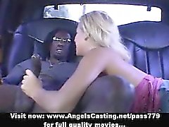 Rich blonde bitch toying pussy and doing blowjob and handjob for afro