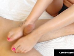 5ft Dirty Blonde Carmen Valentina Gives an Amazing FootJob!