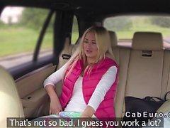 Fake taxi driver bangs Euro blonde in back seat