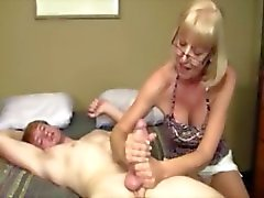 This young guy love the senoir attention on his hard dick