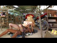 Latina biker babe fucked in a garage