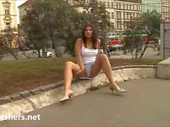 Amateur flashing babe Barbaras public masturbation