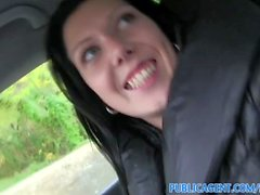 PublicAgent Young black haired girl fucks on car bonnet