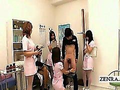 CFNM Subtitled japonés enfermería handjob medida de Mamadas