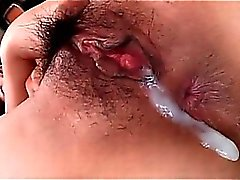 Asian pussy creampie in close-up with sexy naked nympho