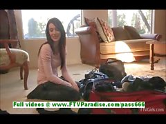 Aiden superb brunette woman undressing and flashing tits
