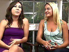 Beautiful girlfriend strapon fucks lesbian