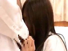 Cute Asian chick deepthroats a hard stick and then gets pou