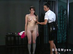 Hairy pussy slave gets inflatable toy
