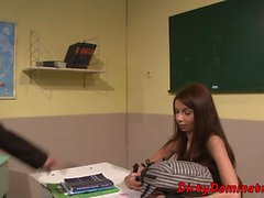 Restrained schoolgirl disciplined by lezdom