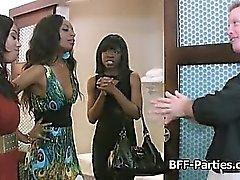 Ebony threesome pussy licking party