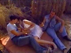 Classic outdoor threesome with brunette Shalimar getting DP action