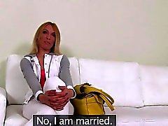 Slim blonde Russian amateur banging on casting