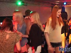 Seductive babes get fucked at a party