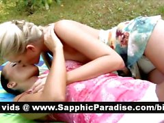 Sexy blonde and brunette lesbos kisisng and licking nipples and having lesbo love