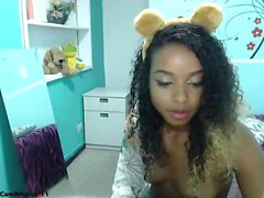 Ebony teen masturbate with cucumber