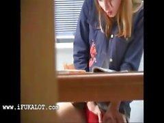 Secret girl finger under the table