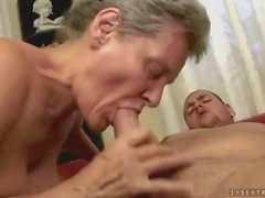 Hot busty grandma gets fucked on the couch