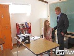 SpyFam Teacher stepdaughter Nina Skye seduces stepdad principal