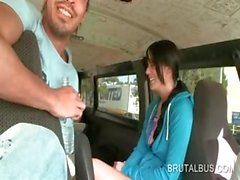 Dick starved cute amateur seduced in the sex bus