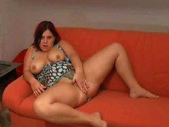 Horny Fat Chubby Ex GF masturbating and spreading her pussy