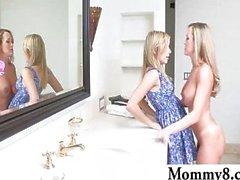 Mature stepmom Brandi seduces teen couple