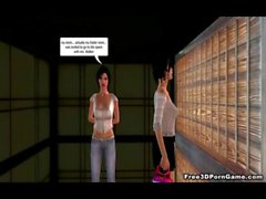 Foxy 3D babe meets a hot lesbian in the locker room