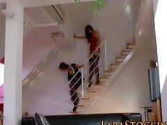 Stockings lezzy sluts masturbate on the stairs