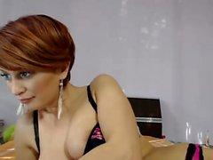 Magnificent redhead teen puts her big natural breasts on fu