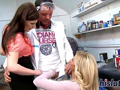 Charlotte and Candy blow a stiff member