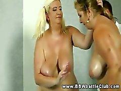 Fat plumper bbws wrestle each other