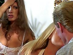 Horny blonde babe gets her tight pussy pounded, gets cum on her great tits