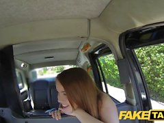 A brunette whore gets abused by a taxi driver because she didn't have the money to pay for it
