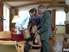 Sweet girl pleases more guys at once