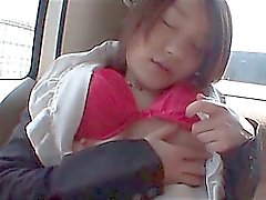 Petite jap school sweetie masturbates hungry pussy in the bus