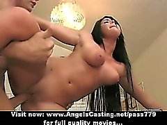Amateur amazing flexible brunette babe doing blowjob and hardcore fucking