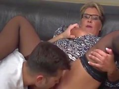 Big busty mature blonde milf fucks young guy
