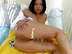 Beautiful brunette masturbating pussy