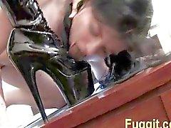 spanking Slut licks feet