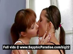 Gorgeous brunette lesbians kissing and having lesbian love