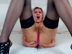 Sluty kinky blonde babes in stockings plays with sex toys