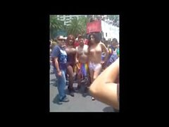 Semi-Naked T-girls on the Street