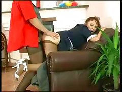 Plump mature maid Lillian puts her pantyhose on Morris the boss then gets banged