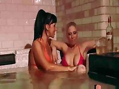British lesbians Lolly Badcock and Michelle B in the jacuzzi