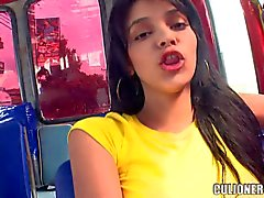 Sweet Latina Luchy gets seduced in a public bus