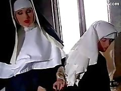 Abbess In Sexy Lingerie Spanking Nun Getting Her Pussy Licked Licking On The Bed