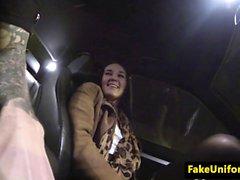 Stockinged brit cocksucking cop in car