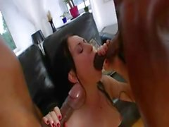 Two monster black cock in her ass