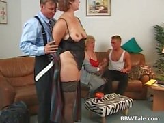 Two obese and horny lady blowing cock